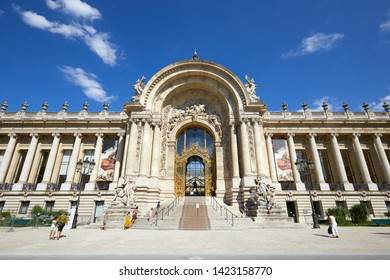 PARIS, FRANCE - JULY 21, 2017: Petit Palais building with people in a sunny summer day, clear blue sky in Paris, France.