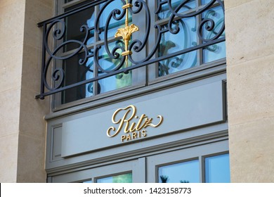 PARIS, FRANCE - JULY 21, 2017: Ritz, luxury hotel golden sign in place Vendome in Paris, France.