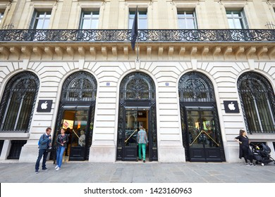 PARIS, FRANCE - JULY 21, 2017: Apple store exterior with people and building facade in Paris, France.