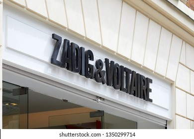 PARIS, FRANCE - JULY 22, 2017: Zadig and Voltaire black sign, fashion store in Paris, France.