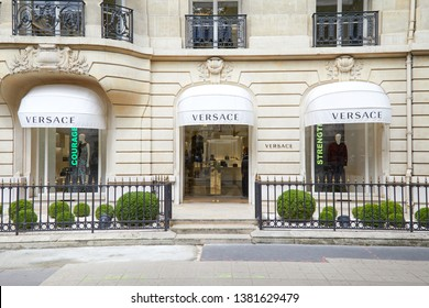 PARIS, FRANCE - JULY 22, 2017: Versace fashion luxury store in avenue Montaigne in Paris, France.