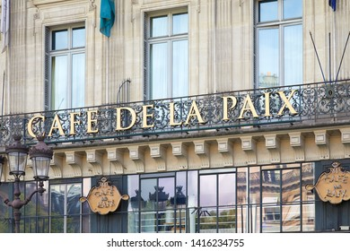 PARIS, FRANCE - JULY 22, 2017: Famous Cafe de la Paix sign in golden letters in Paris, France