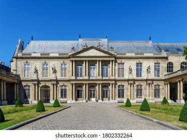 Paris, France - July 22 2020: Headquarters of the Archives Nationales (National Archives or French Archives) located since 1808 in the Hotel de Soubise in Le Marais Paris district.