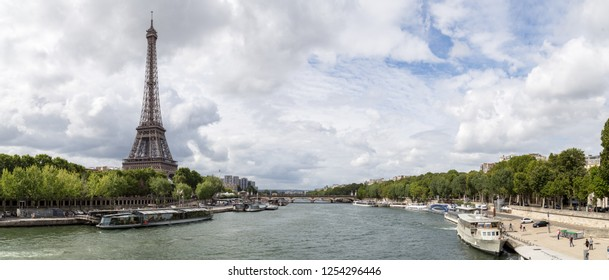 Paris, France - July 23, 2017: Panoramic view of the Eiffel Tower and the River Seine