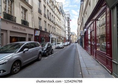 Paris, France - July 23, 2017: A street with art galleries in the famous and popular Saint-Germain des Pres neighborhood