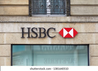 PARIS, FRANCE - JULY 23, 2017: HSBC bank sign and logo in Paris, France.