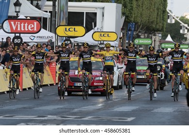 PARIS, FRANCE - JULY 24, 2016 : The British road racing cyclist Christopher Froome wearing the leader's yellow jersey rides with his team on the finishing line during Tour de France 2016.