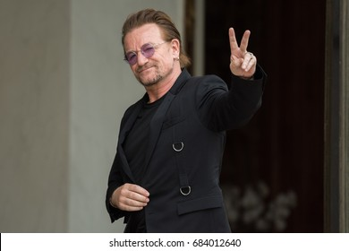 Paris, FRANCE - July 24, 2017 : The singer and leader of the band group U2 and Co-founder of the organization ONE at Elysee Palace to meet the french President to speak about his organization..