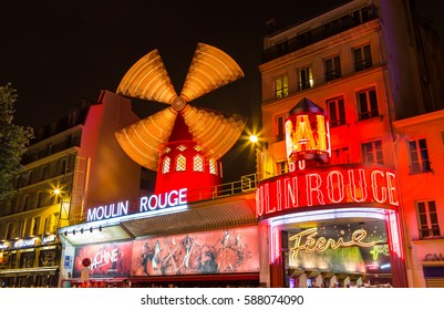 Paris, France - July 24.2015 - Moulin Rouge in Paris at night