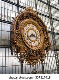 PARIS, FRANCE - JULY 25, 2015: Golden clock of the museum D'Orsay in Paris, France.