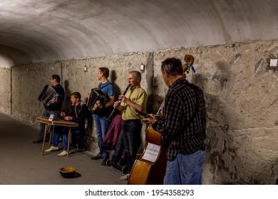 Paris, France - July 25,2015 - Street performers in the Paris Metro