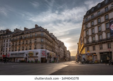 PARIS, FRANCE – JULY 27, 2014: View of beautiful old buildings on the Rue Saint-Lazare in the historic center of Paris on a sunny summer morning.
