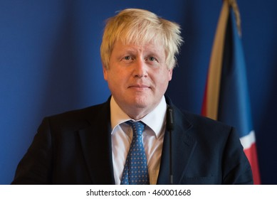 Paris, FRANCE - JULY 28, 2016 : Boris Johnson, Secretary of State for Foreign and Commonwealth Affairs in press conference at french foreign Ministry after a work diner with Jean-Marc Ayrault.