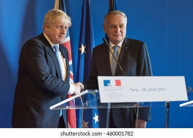 Paris, FRANCE - JULY 28, 2016 : Boris Johnson, Secretary of State for Foreign and Commonwealth Affairs with Jean-Marc Ayrault in press conference at french foreign Ministry after a work diner.