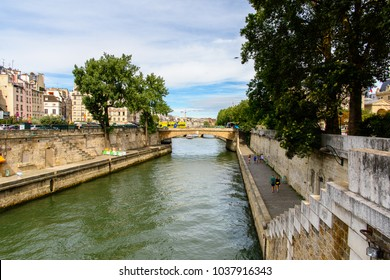PARIS, FRANCE - JULY 28, 2017: Bridge over river Seine in Paris, the capital of France