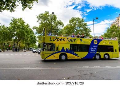 PARIS, FRANCE - JULY 28, 2017: Touristic city tour bus, Paris, the capital of France