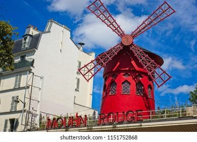 PARIS, FRANCE - JULY 28, 2018: Paris Moulin Rouge facade, one of the top attractions in Paris