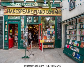 Paris, France - July 29, 2018: Entrance to the world famous Shakespeare and Company bookstore in the Latin Quarter of Paris, France.