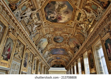 PARIS, FRANCE- JULY 29: The Napoleon apartman in the Louvre Museum on July 29, 2014. The Louvre Museum is one of the largest museums of the world