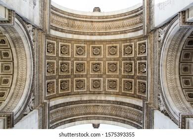 Paris / France - July 3 2019: Ceiling pattern of arc de triomphe