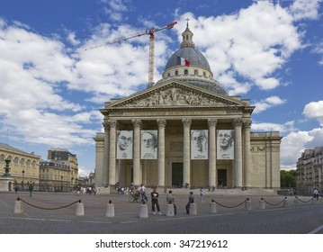 Paris, France - JULY 30, 2015: Pantheon in the Latin Quarter during reconstruction with people on the foreground