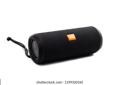 Paris, France - July 30, 2018: JBL bluetooth wireless portable speaker on a white background