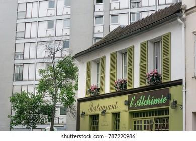 PARIS, FRANCE - July 31,2017 : beautiful Street view of Buildings around Paris city