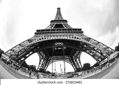 PARIS, FRANCE, JULY 4, 2014: Eiffel Tower taken by fish-eye, black and white photography.