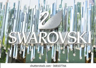 Paris, France - July 9, 2015: Detail of Swarovski jewelry shop on Champs Elysees in central Paris, France