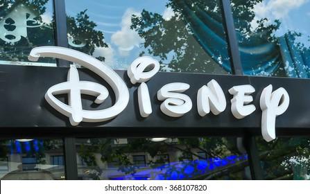 Paris, France - July 9, 2015: Detail of entrance to Disney store on Champs Elysees, Paris, France