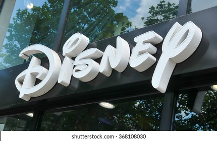 Paris, France - July 9, 2015: Detail of entrance to Disney store on Champs Elysees, Paris, France