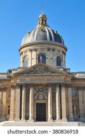 Paris, France - July 9, 2015: Architectural detail of the Mazarine Library, major tourist landmark in Paris