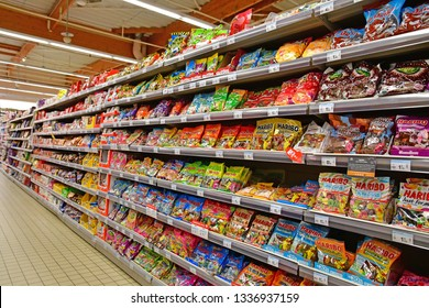 Paris, France - july 9 2018 : sweets in a supermarket