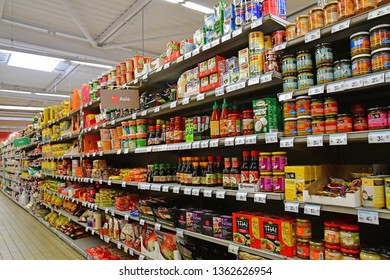 Paris, France - july 9 2018 : exotic products in a supermarket
