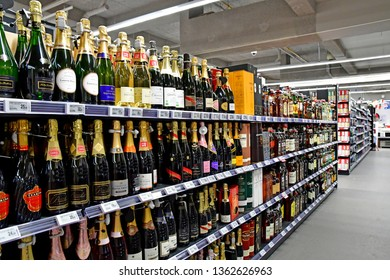 Paris, France - july 9 2018 : champagne in a supermarket