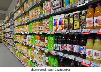 Paris, France - july 9 2018 : fruit juice in  a supermarket