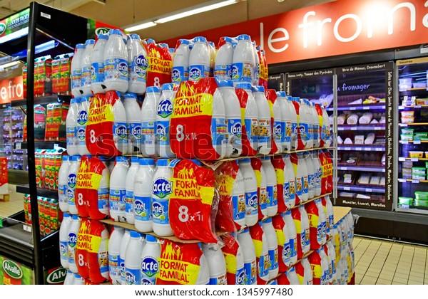 Paris, France - july 9 2018 : milk in  a supermarket