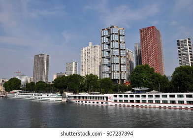 PARIS, FRANCE - JULY2: The Novotel Paris Tour Eiffel hotel and boat hotel on July 2, 2015 in Paris, France. Novotel is a modern hotel located in Beaugrenelle area in the 15th arrondissement of Paris.