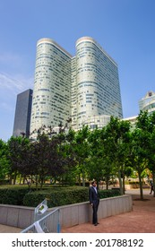 PARIS, FRANCE - JUN 18, 2014: Skyscapers of La Defense. La Defense is the major business district of the Paris, France