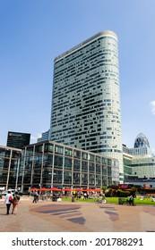 PARIS, FRANCE - JUN 18, 2014: Modern glass architecture of the La Defense district. La Defense is the major business district of the Paris, France
