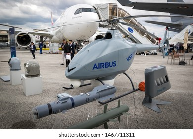 PARIS, FRANCE - JUN 20, 2019: Airbus Military VSR700 autonomous helicopter drone on display at the Paris Air Show 2019.
