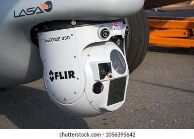 PARIS, FRANCE - JUN 22, 2017: UltraForce 350 multi-Sensor surveillance pod under an airplane.