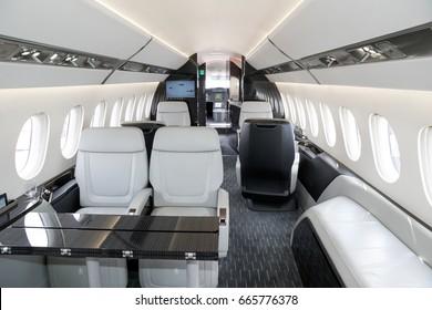 PARIS, FRANCE - JUN 23, 2017: Modern interior of the long-range business jet Dassault Falcon 5X at the Paris Air Show 2017.