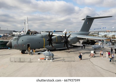 PARIS, FRANCE - JUN 23, 2017: French Air Force Airbus A400M military transport plane on display at the Paris Air Show 2017.