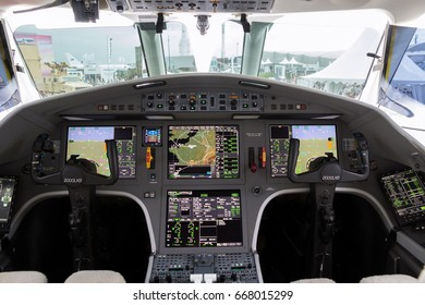 PARIS, FRANCE - JUN 23, 2017: Modern glass cockpit of the Dassault Falcon 2000LX business jet at the Paris Air Show 2017