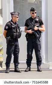 PARIS, FRANCE - JUN 23, 2017: Armed National Gendarmerie on guard at the Paris Air Show 2017.
