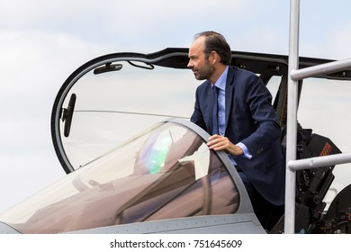 PARIS, FRANCE - JUN 23, 2017: French Prime Minister Edouard Philippe getting out of Dassault Rafale fighter jet during his visit to  the Paris Air Show 2017