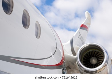 PARIS, FRANCE - JUN 23, 2017: Brand new Dassault Falcon 2000LXS business jet aircraft close up.
