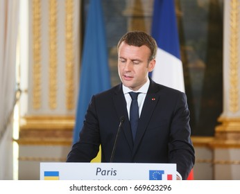 PARIS, FRANCE - Jun 26, 2017: French President Emmanuel Macron during a joint press conference with Ukrainian President Petro Poroshenko at the Elysee Palace in Paris