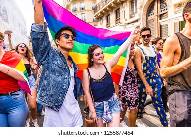 Paris, France. Jun 30th, 2018. Colourful characters in today's Gay Pride March, also known as the LBGT Pride March in the streets of Paris.